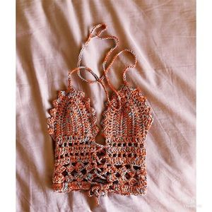 Tops - Handmade crochet women's top orange and blue XS